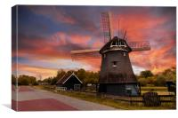 Sunset over a Dutch windmill , Canvas Print
