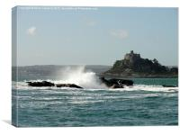 Rough seas at St Michaels Mount, Canvas Print