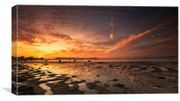 Tide going out at Sunset, Canvas Print