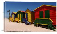 colourful beach huts, Canvas Print
