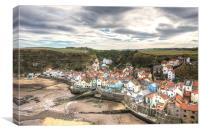 Tide out in Staithes Harbour, Canvas Print