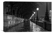 A Wet Westminster Night, Canvas Print