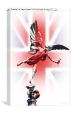 Eros statue wrapped in Union Jack flag, Canvas Print
