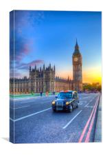 Westminster Bridge And Taxi, Canvas Print