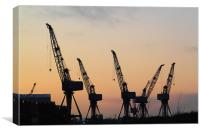 Cranes at sunset, Canvas Print