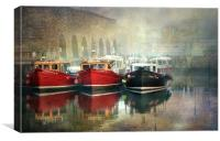 Seahouses Harbour in mist, Canvas Print