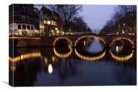 Cycle Light Trails in Amsterdam, Canvas Print