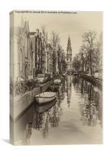 Amsterdam Backwater Sepia, Canvas Print