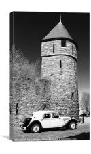 Citroen Traction Avant in Black and white, Canvas Print