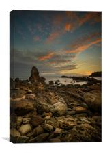 Porth Saint Beach at Dusk., Canvas Print