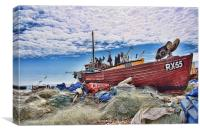 Nets And Boats, Canvas Print