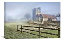 Wouldham Church In The Fog, Canvas Print
