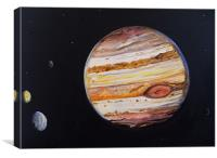 Jupiter and Four Moons, Canvas Print