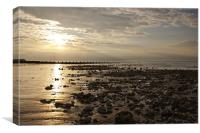 Setting Sun at Cromer, Canvas Print