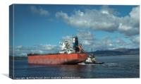Container Ship and Tug on River Clyde, Canvas Print