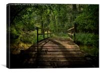 Bridge Over The Woodland River, Canvas Print