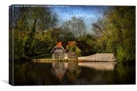 Boat Houses on the River Thames, Canvas Print
