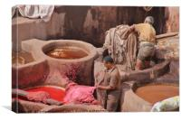 Leather Tannery in Fes, Canvas Print