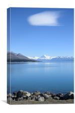View on Mount Cook from Pukaki lake, Canvas Print