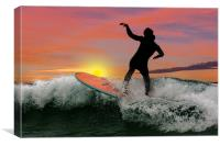 Surfing silhouette, Canvas Print