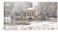 Snowfall,The Roman Boathouse ,Birkenhead park, Canvas Print