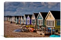 Hengistbury Head beach huts Dorset, Canvas Print