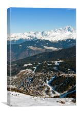 Meribel and Mont Blanc French Alps France, Canvas Print