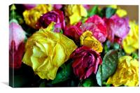 Yellow Pink And Red Rose's Summer Flowers, Canvas Print