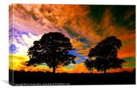 Two tree silhouette, Canvas Print