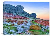 Cow And Calf Rocks Ilkley, Canvas Print