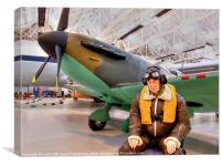 James May`s 1:1 Airfix Spitfire, Canvas Print
