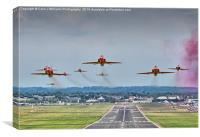 The Red Arrows Take Off - Farnborough Airshow , Canvas Print