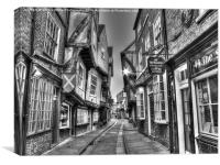 The Shambles York BW, Canvas Print