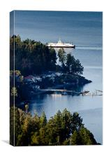 MILL BAY ferry passing Sandy Beach Rd, Vancouver Island, BC, Canada, Canvas Print