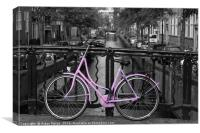Pink Bicycle By The Canal , Canvas Print
