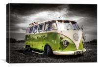 Green split screen VW camper van, Canvas Print