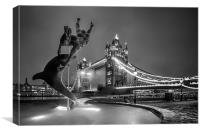 Tower Bridge and Dolphin - mono, Canvas Print