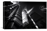The lloyds Building & Gherkin London. , Canvas Print