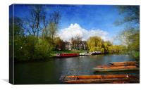 Boats on the River Cam, Canvas Print