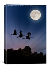 Flying Witches over Combestone Tor, Devon, Canvas Print