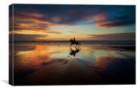 Horse Rider reflections at Widemouth Beach, Canvas Print