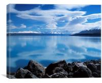 Mount Cook reflecting in Lake Pukaki., Canvas Print
