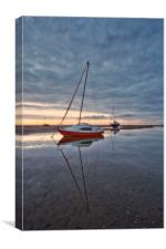 BOATS ON THE ESTUARY ( Dusky blue sky), Canvas Print