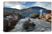 """Llangollen Weir"" (Fast Flowing River), Canvas Print"