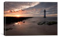 """Sun Setting at Perch Rock Lighthouse), Canvas Print"