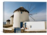 """Mykonos Windmills"" Greece, Canvas Print"