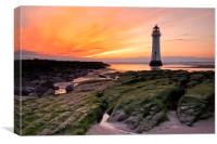 Sunset at Perch Rock Lighthouse, Canvas Print