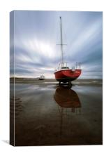 """Reflections Pt1"" Boats on the Estuary, Canvas Print"