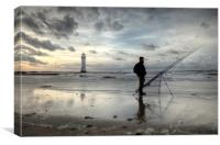 Fisherman at Perch Rock Lighthouse, Canvas Print
