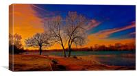 Stunning Beautiful sunset over the lake         , Canvas Print